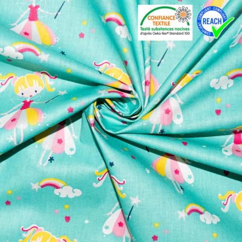 Coton turquoise motif princesse candy