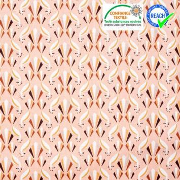 Coton rose motif paon ocre et brique