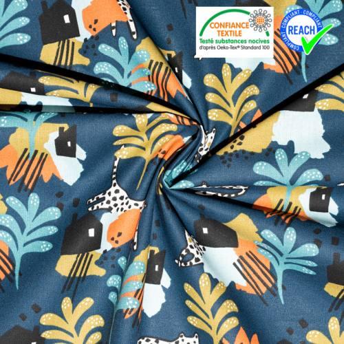 Coton bleu marine motif guépard blanc irbis