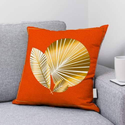Coupon velours ras imprimé feuille art déco orange gold