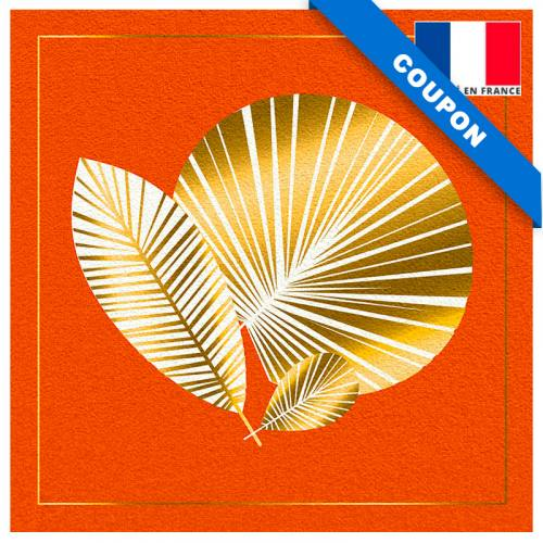 Coupon velours ras imprimé feuille art déco orange gold