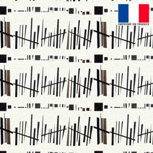 Velours ras écru motif géo-barres noir - Création Marie-Eva
