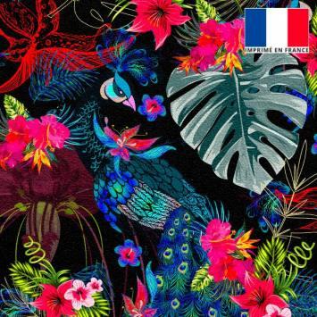 Velours ras noir motif paon fleuri rose