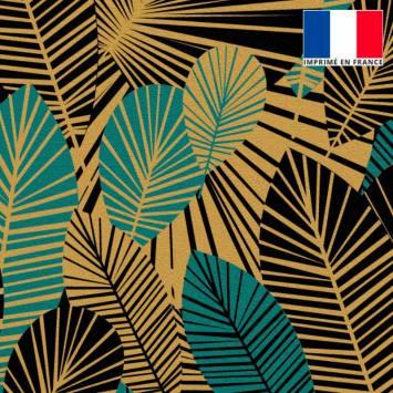 Velours ras gold motif feuilles art déco noires et bleu canard