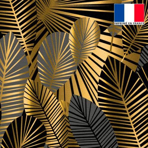 Velours noir motif feuilles art déco grises et or