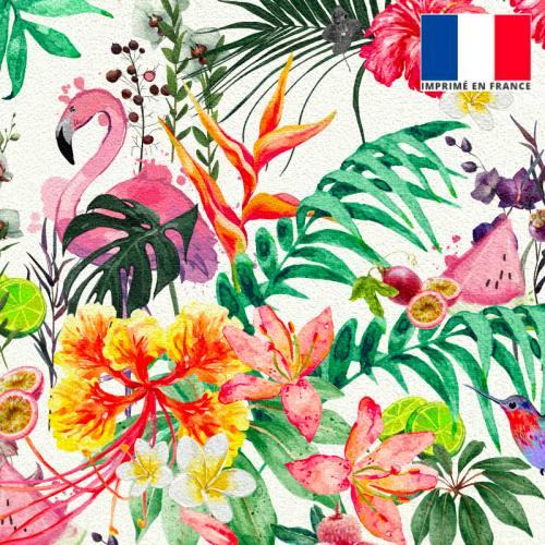 Velours écru motif fruit tropical