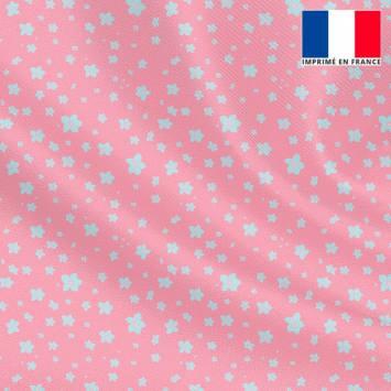 Tissu microfibre rose motif prairie fleurie bleu ciel