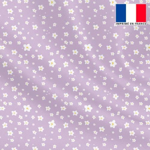 Tissu microfibre lilas motif prairie fleurie blanche