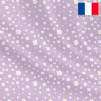 Tissu microfibre violet motif prairie fleurie blanche