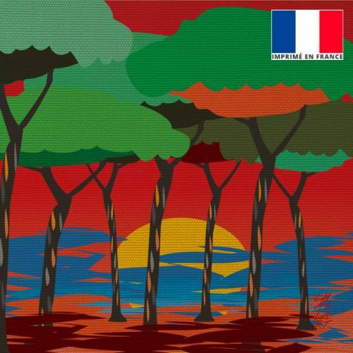 Coupon 45x45 cm toile canvas Sous les Pins - Création Chaylart