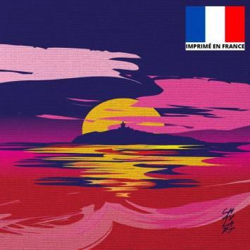 Coupon 45x45 cm toile canvas L'île du Rouveau Soir - Création Chaylart