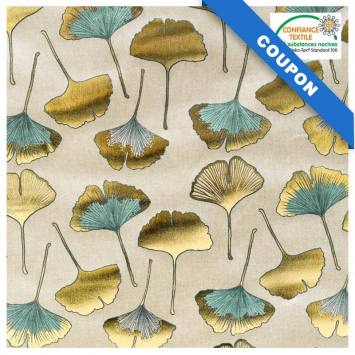 Coupon 50X68 cm - Toile coton chinée naturelle imprimée feuilles ginkgo dorées et vertes