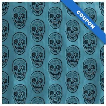 Coupon 50x68cm - Simili cuir bleu canard métallisé tête de mort relief