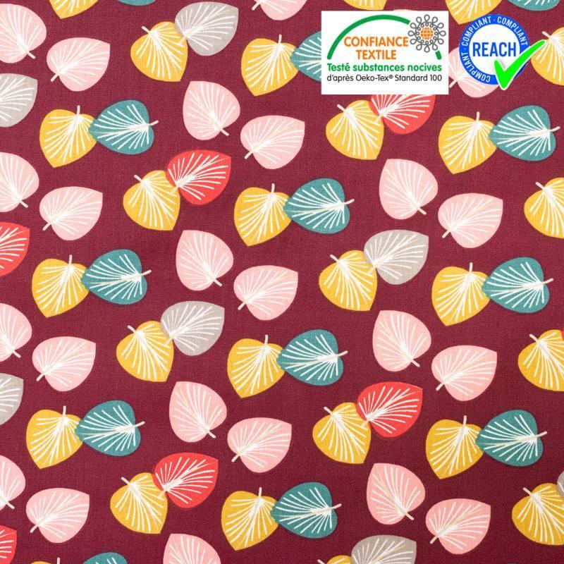 Coton prune motif feuille d'eucalyptus cories