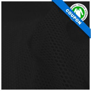 Coupon 85x50 cm - Tissu filet mesh noir coton bio