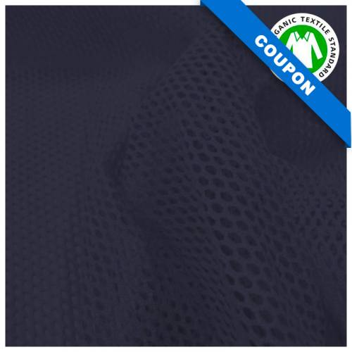 Coupon 85x50 cm - Tissu filet mesh bleu marine en coton bio
