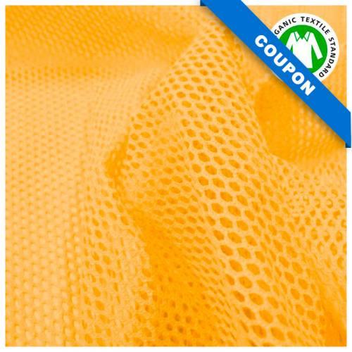 Coupon 85x50 cm - Tissu filet mesh jaune en coton bio