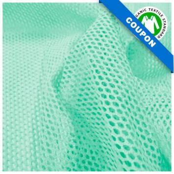 Coupon 85x50 cm - Tissu filet mesh vert menthe coton bio