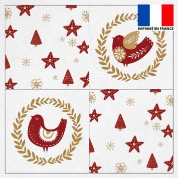 Coupon éponge pour lingettes démaquillantes motif poulette de Noël ocre et rouge