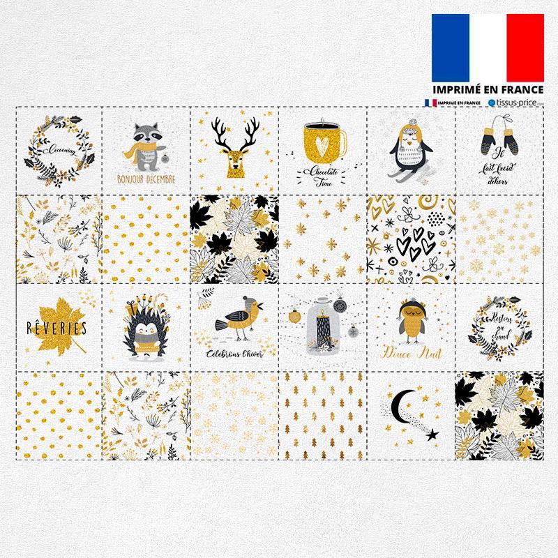 Coupon éponge pour lingettes démaquillantes motif ambiance d'hiver jaune or et gris