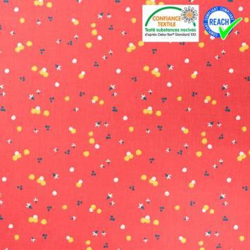 Coton rouge motif pollen jaune nozbi