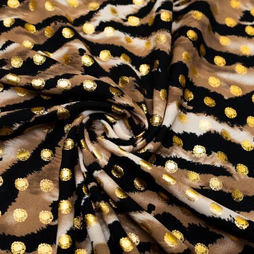 Crêpe georgette noire motif pois doré