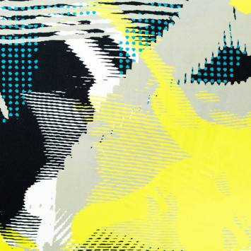 Tissu viscose vert de gris motif abstrait jaune flash