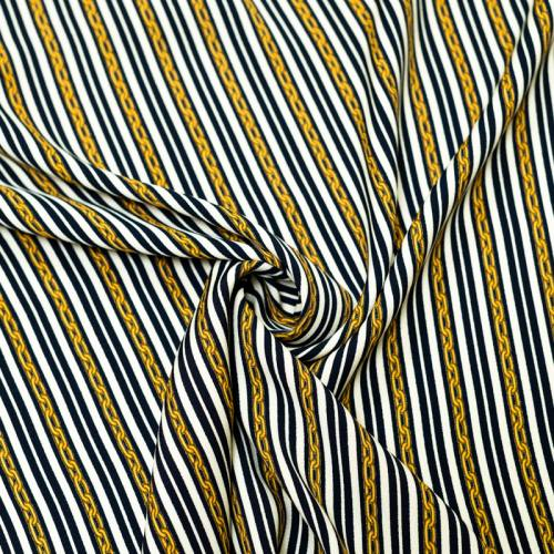 Tissu viscose bleu nuit motif rayure et chaine