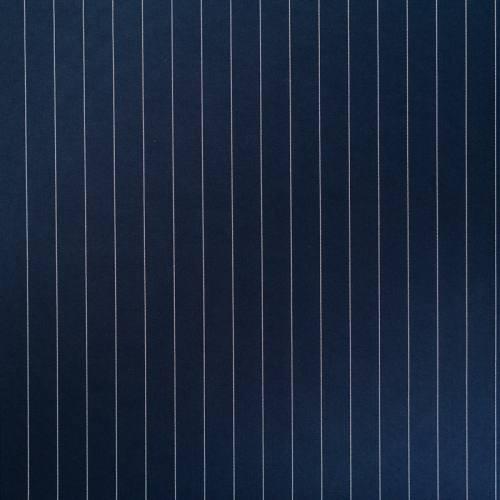 Gabardine bleue motif rayure blanche