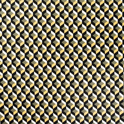 Tissu viscose noir motif 3D géométrique vert et jaune