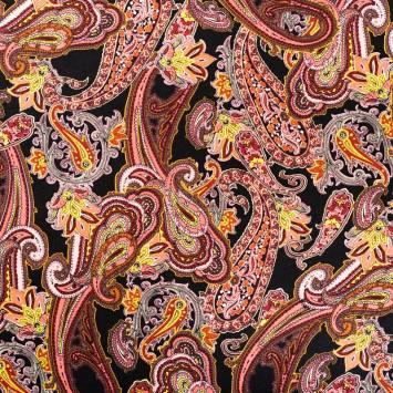 Tissu viscose noir motif cachemire rose et jaune