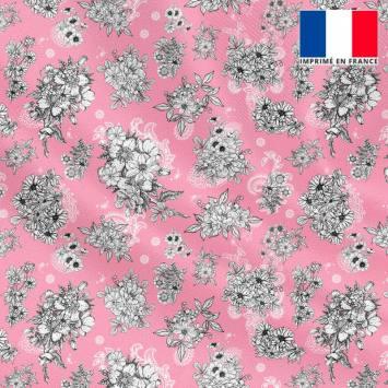 Tissu microfibre rose motif floral fond cachemire