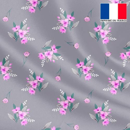 Tissu microfibre gris motif petit bouquet de fleurs violettes