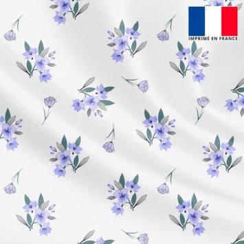 Tissu microfibre écru motif petit bouquet de fleurs bleues