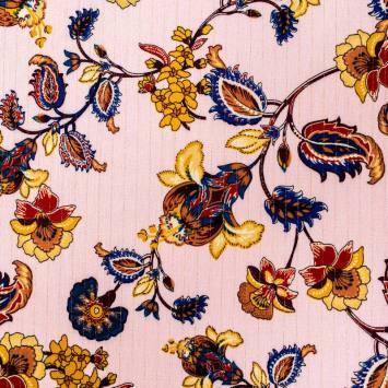 Crêpe de viscose lurex rose motif fleur baroque bleue
