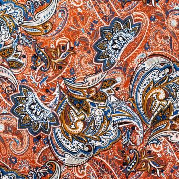 Jersey viscose rouge terre motif flore cachemire ocre et bleue