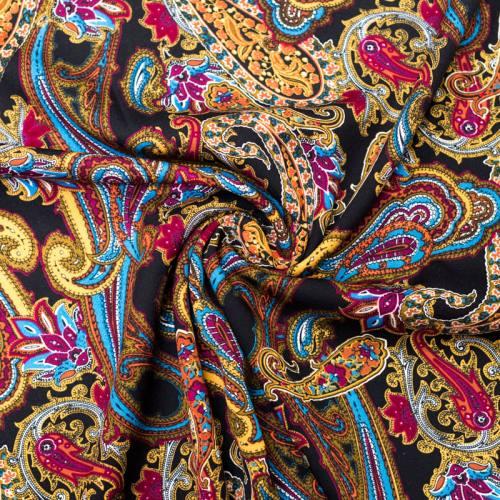 Tissu viscose noir motif cachemire coloré
