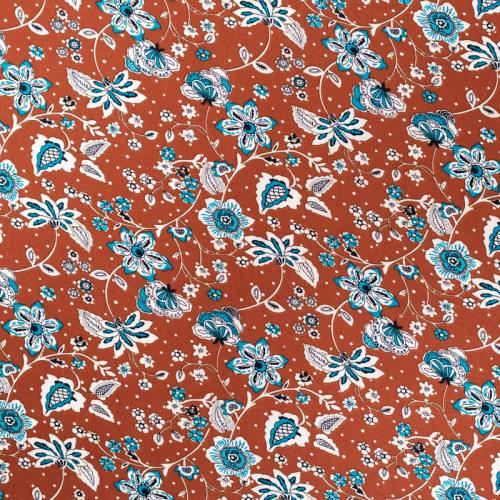 Tissu viscose marron motif fleur bleue