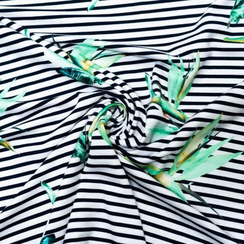 Jersey viscose écru motif marinière et plante verte