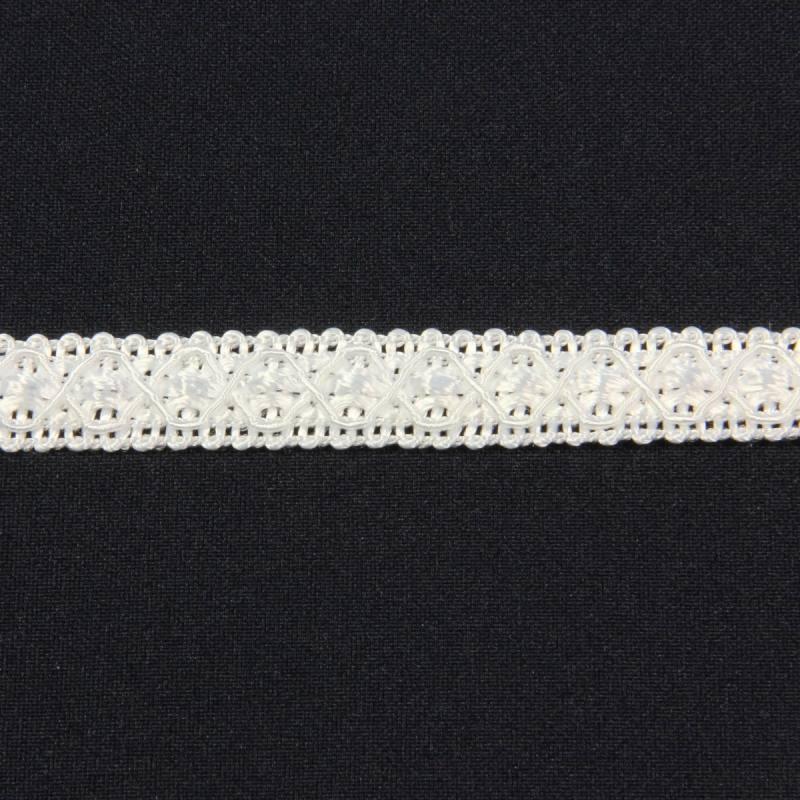 Ruban 12 mm blanc à motifs