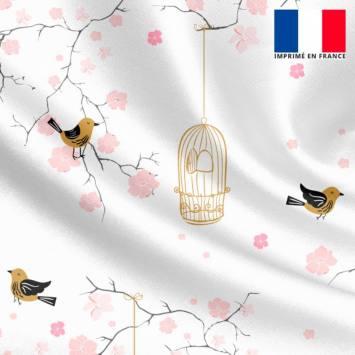 Satin écru motif fleur de cerisier rose et cage à oiseaux