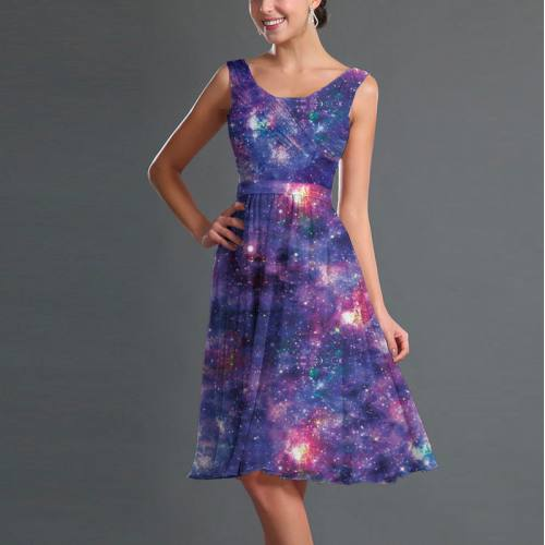 Mousseline imprimée galaxie constellations bleu et rose
