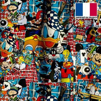 Velours ras motif patchwork pop culture - Création Anne-Sophie Dozoul
