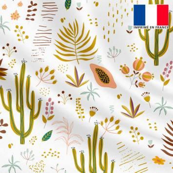 Satin écru imprimé cactus et fruit de la passion
