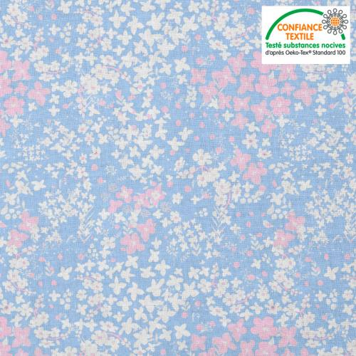 Coton bleu pastel motif fleurs des champs roses