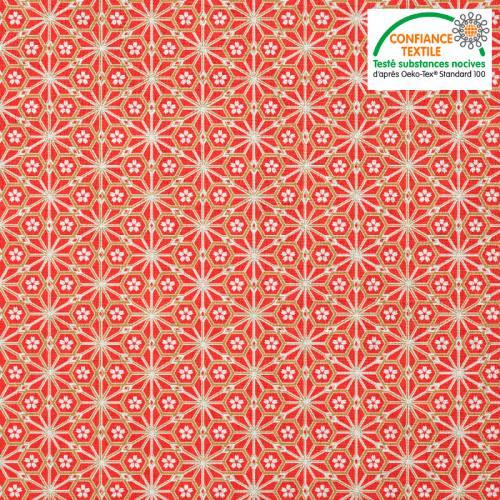Coton rouge corail motif asanoha doré fleur blanche