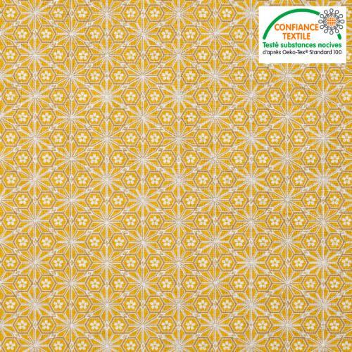 Coton jaune moutarde motif asanoha doré fleur blanche