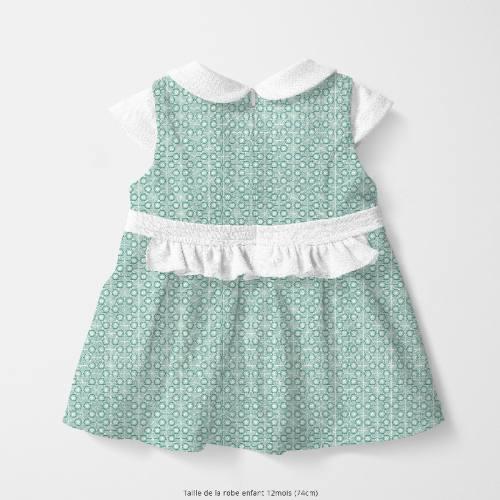 Coton vert céladon motif asanoha fleur verte