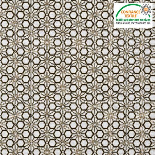 Coton blanc motif asanoha noir