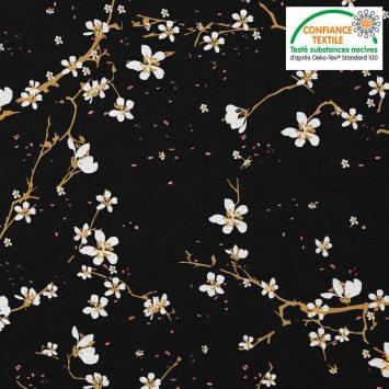 Coton noir motif fleur de cerisier